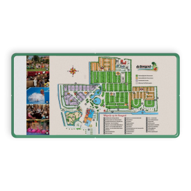 Plattegrond- informatiebord (camping) rechthoek 2:1  full-colour opdruk logobord, eigen ontwerp, schoolplein, speciale borden, camping, plattegrond, bewegwijzering