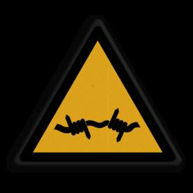 Veiligheidspictogram Waarschuwing voor prikkeldraad Veiligheidspictogram - Prikkeldraad - W033 prik, prikkel, draad, stroom, schok