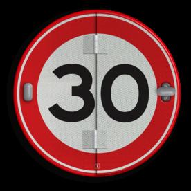 Klapbord - 5 standen - Rond conform RVV ersbo, snelhiedsbord, snelheidbord, 30 km bord, snelheid, zonebord, A1, boekwerkbord, klap-borden, klapperborden, boekbord