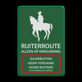 Informatiebord Ruiterroute  reflecterend klasse 1  ruiter, paard, eigen ontwerp, speciale borden