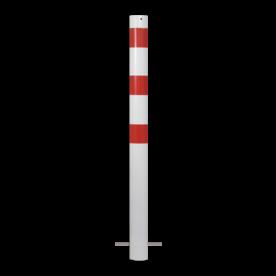Vaste antiparkeerpaal rood/wit 900mm boven de grond
