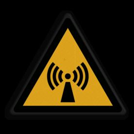 Product Waarschuwing voor signaal storing Veiligheidspictogram - Pas Op! niet-ioniserende straling - W005 Storing, signaal, zender, zendmast