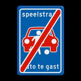 Verkeersbord L53e - Einde Speelstraat (niet officieel) Fietsstraat, fietsweg, Fietsweg, Fiets