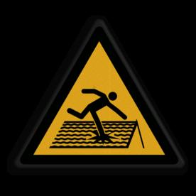 Veiligheidspictogram Waarschuwing voor statische vloer Veiligheidspictogram - Statische vloer - W036 Statisch, vloer, ondergrond,