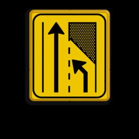 Verkeersbord WIU geel/zwart T32-2l Tekstbord, WIU bord, tijdelijke verkeersmaatregelen, werk langs de weg, omleidingsborden, tijdelijk bord, werk in uitvoering, 3 regelig bord
