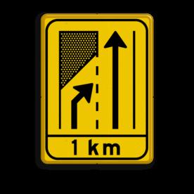 Verkeersbord WIU geel/zwart T32-2x + ondertekst Tekstbord, WIU bord, tijdelijke verkeersmaatregelen, werk langs de weg, omleidingsborden, tijdelijk bord, werk in uitvoering, 3 regelig bord