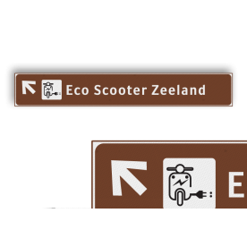 Verwijsbord EIGEN LOGO 1500x230x32mm toeristisch - Eco Scooter Zeeland anwb bewegwijzering, verwijsborden, Vliegveld, Station (trein), Fietsstalling (overdekt), Fietsstalling, Politie, EHBO, Parkeergarage, Conferentiezaal, Tankstation, Tankstation + LPG, Speelhal (overdekt), Speeltuin, Wandelroute, Looproute, Trappenhal, Winkelcentrum, Parkeren, Hospitaal, Kantoor(pand), Industrieterrein, Laden / lossen, Expeditie / magazijn, Stadhuis / , Gemeentehuis, Bank, Bibliotheek, Kerk(gebouw), VVV , kantoor, Veilinghuis, Gerechtshof, Garagebedrijf