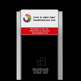 Portaalsysteem TS6 met informatiebord 3:2 met aluminium staanders 30x30 of 60x60mm portaal, info, informatie, eigen, ontwerp, full, color, colour, luxe, systeem
