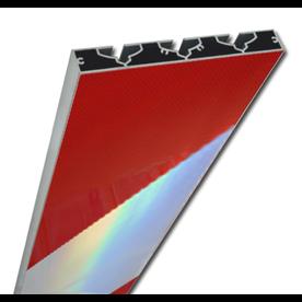 Markeerschild 1000mm lang VERZWAARD schuine banen rood/witte markering voor hoeken en steigermateriaal