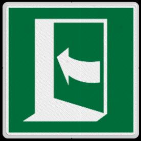 Veiligheidspictogram Vluchtdeur naar rechts Veiligheidspictogram - Vluchtdeur links open draaiend - E023 vluchten, deuren, rechter escape