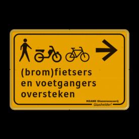 Verkeersbord WIU geel/zwart voetgangers en (brom)fietsers oversteken Tekstbord, WIU bord, tijdelijke verkeersmaatregelen, werk langs de weg, omleidingsborden, tijdelijk bord, werk in uitvoering, 3 regelig bord