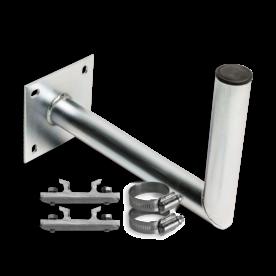 Haakse muurbeugel Ø50 ALU met schetsplaat + beugelset bevestigen, bevestigingsmateriaal, gevelbevestiging, gevel, wandmontage