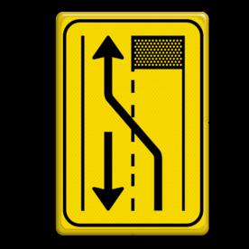 Verkeersbord T31-2l geel/zwart  Tekstbord, WIU bord, tijdelijke verkeersmaatregelen, werk langs de weg, omleidingsborden, tijdelijk bord, werk in uitvoering, 3 regelig bord