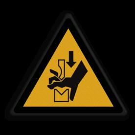 Veiligheidspictogram Waarschuwing voor zetbank Veiligheidspictogram - Zetbank handen - W030 Zetbank, bank, handen