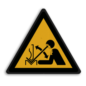 Veiligheidspictogram Waarschuwing voor zetbank Veiligheidspictogram - Zetbank opletten - W32 Zetbank, bank, handen