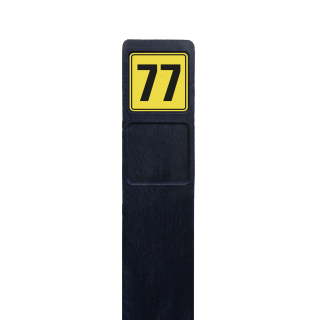 Huisnummerpaal zwart recycling + 1x huisnummer geel/zwart