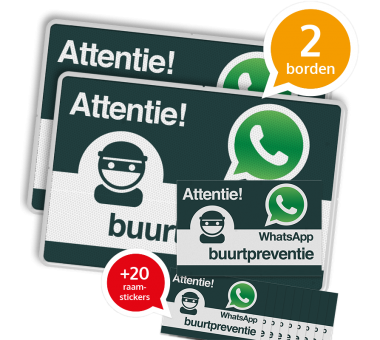 WhatsApp Buurtpreventie SET - 2 borden + 20 stickers