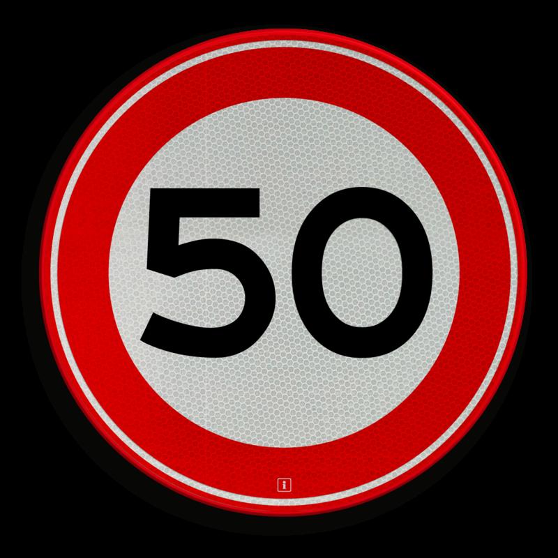 bord 50 jaar Snelheidsbord A1 50 kilometer per uur | Informatiebord.nl bord 50 jaar