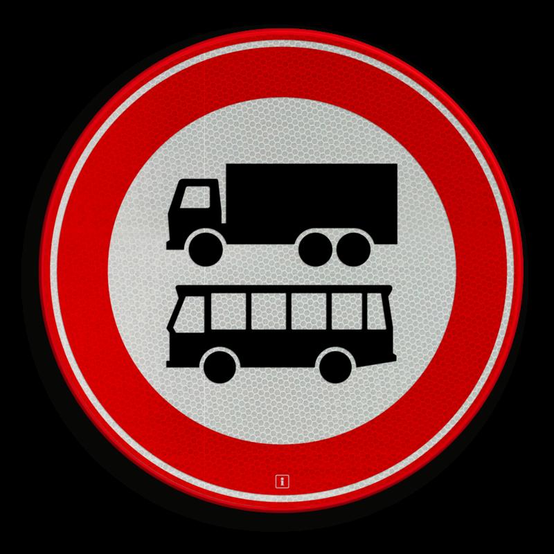 Verkeersbord C07b - Gesloten voor vrachtauto's en bussen ...