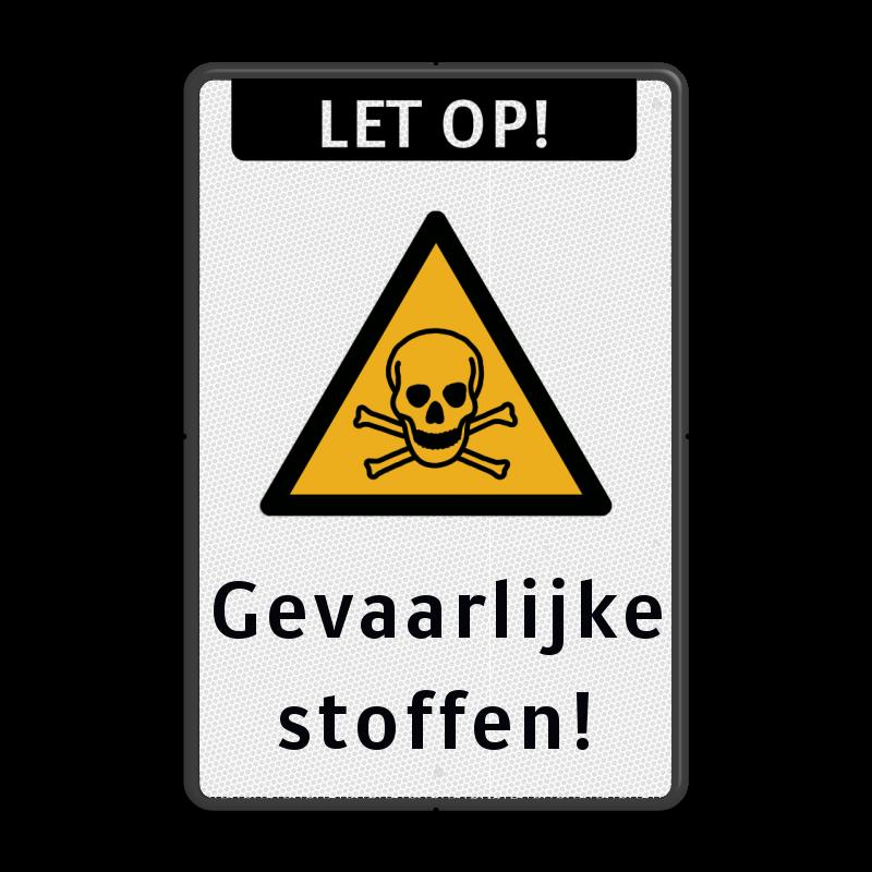 Stoffen Tas Eigen Tekst : Veiligheidspictogram pas op gevaarlijke stoffen w