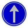 Verkeersbord D04 - Verplichte rijrichting rechtdoor