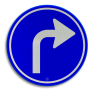 Verkeersbord D05r - Verplichte rijrichting rechtsaf