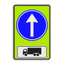 Verkeersbord D04-OB11 - Verplichte rijrichting rechtdoor + toelichting