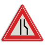 Verkeersbord J18 - Vooraanduiding rijbaanversmalling naar links