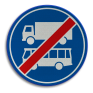 Verkeersbord F20 - Einde rijbaan of -strook lijnbussen en vrachtauto's