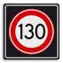 Verkeersbord A01130s - Maximum snelheid 130 km/h
