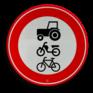 Verkeersbord C09 - Gesloten voor ruiters, vee, wagens en motorvoertuigen < 25km/h
