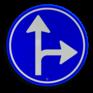 Verkeersbord D06r - Verplichte rijrichting rechtdoor of rechtsaf
