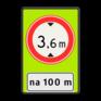 Verkeersbord C19-OB401f - Gesloten voor te hoge voertuigen + afstand