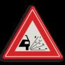 Verkeersbord J25 - Vooraanduiding losliggende stenen