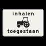 Verkeersbord OB101 - Onderbord - Inhalen tractoren toegestaan.