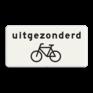 Verkeersbord OB052 - Onderbord - Uitgezonderd fietsers