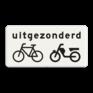 Verkeersbord OB054 - Onderbord - Uitgezonderd (brom)fietsers