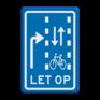 Verkeersbord VR09-03 - Let op: recht doorgaande fietsers in twee richtingen