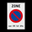 Parkeerbord België E01 zone + eigen tekst