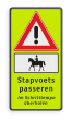 Verkeersbord J37 + OB01 ruiter te paard - Stapvoets passeren -  FLUOR