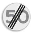 Verkeersbord RVV A02-00 vrij invoerbaar - Einde maximum snelheid 50 km/h