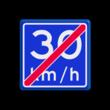 Verkeersbord RVV A05-vrij invoerbaar - Einde adviessnelheid 30 km/h