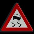 Verkeersbord België A15 - Glibberige rijbaan (slipgevaar).