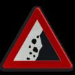 Verkeersbord België A19 - Vallende stenen