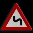 Verkeersbord België A01c - Dubbele bocht links