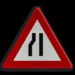 Verkeersbord België A07c - Rijbaanversmalling links