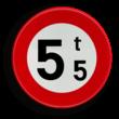 Verkeersbord België C21 - Verboden toegang voor voertuigen waarvan de massa in beladen toestand hoger is dan de aangeduide massa
