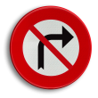 Verkeersbord België C31d - Verbod aan het volgend kruispunt af te slaan in de richting door de pijl aangegeven.