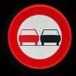 Verkeersbord België C35 - Vanaf het verkeersbord tot het volgend kruispunt, verbod een gespan of een voertuig met meer dan twee wielen, links in te halen