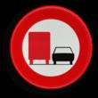 Verkeersbord België C39 - Vanaf het verkeersbord tot het volgend kruispunt, verbod voor bestuurders van voertuigen of slepen gebruikt voor het vervoer van zaken, waarvan de maximale toegelaten massa meer dan 3500 kg bedraagt, een gespan of een voertuig me